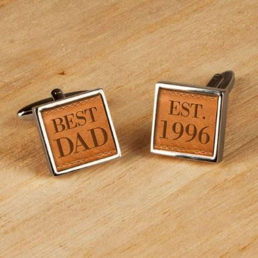 Personalised Tan Leather Style Cufflinks